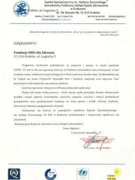 Fundacja Ziko dla Zdrowia - podziękowanie - Szpital Specjalistyczny im. Stefana Żeromskiego
